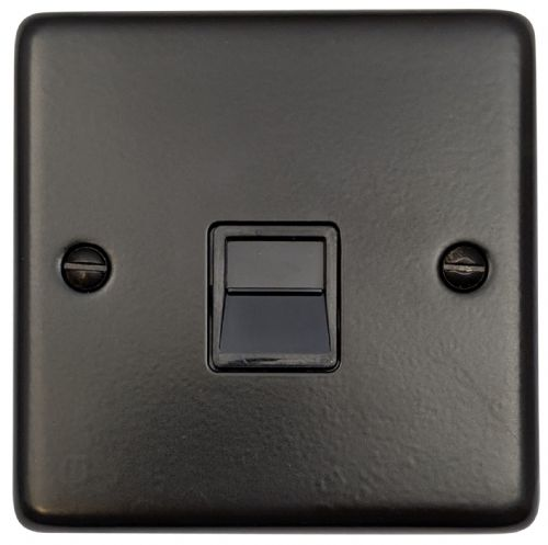 G&H CFB34B Standard Plate Matt Black 1 Gang Slave BT Telephone Socket